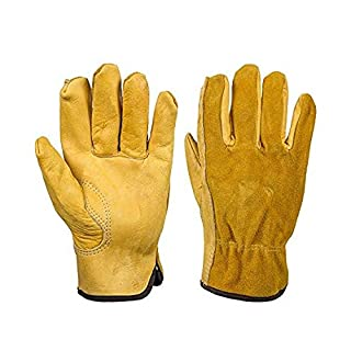 Superior Cowhide Work Gloves Cowhide Rigger Gardening Gloves Waterproof Thorn Proof Gardening Gloves Slim-Fit Reinforced Gauntlet Gloves For Men And Women (M:LENGTH 7.1