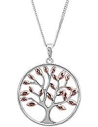 a85e6bf3eef7 Kiara joyas plata de ley 925 colgante de árbol de la vida con hojas chapado  en oro rosa italiano de 45 cm Diamond…