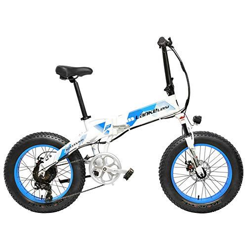 LANKELEISI X2000 20 Pulgadas Bicicleta Grasa Plegable Bicicleta Eléctrica 7 Velocidad Bicicleta de Nieve 48V 12.8Ah 500W Motor 5 Pas Bicicleta de Montaña (Blanco Azul, 10.4Ah)