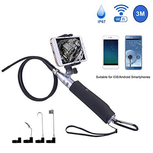KKmoon WiFi Endoskopkamera 2.0 Megapixel mit Telefonhalter 8mm Objektiv HD Endoskop Inspektionskamera Eingebaute 8 LED Lichter IP67 Wasserdicht für iOS Android Smartphones