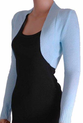 EyeCatchKnitwear - Lara Long gehäkelte Strickjacke / Bolero One Size Blau (Strickjacke Gehäkelte)