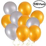 NUOLUX Luftballons,Latex Luftballons,16inch Gold Silber Party Ballons Dekoration, 100 Stück