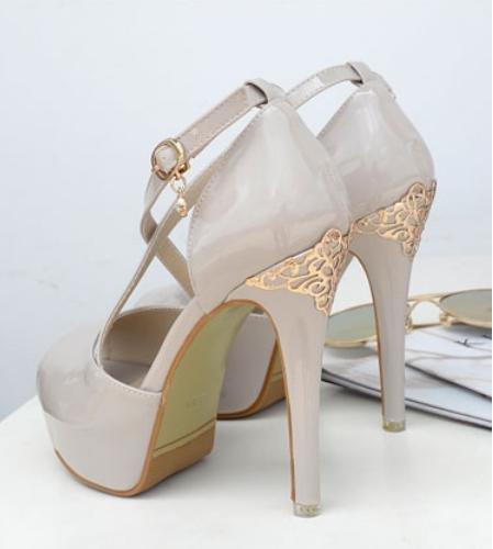 GS~LY Damen Gürtelschnalle super high-Heel Plateau Strass Metall Fisch Mund high heels naked purple