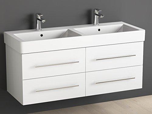 Aqua Bagno Badmöbel 120 cm inkl. Keramik Doppelwaschtisch / Badezimmer Möbel inkl. Waschbecken Unterschrank weiß lackiert
