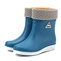 WSKMTX Rain Boots,Winter Warm Plus Velvet Water Shoes In The Tube Slip Rain Shoes Women Fashion Rain Boots Waterproof Wear Resistant Blue Rubber Shoes For Music Festival