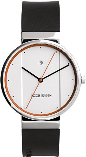 Jacob Jensen Unisex Analog Quarz Uhr mit Kautschuk Armband 32755