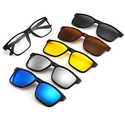 hlq Men es Sonnenbrille, Universal Outdoor Gläser, UV400 Polariisierte Lens Retro Magnetic Clamps Sichtbare Lichtperspektive 99% Ultra Light 5 Piece Set,2202