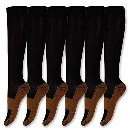 WOTR Kupfer Kompression Socken 6 Paare, Anti-Ermüdung Knie hohe Socken für Männer Frauen, Stabilisator für Relief der Ferse Spurs, Bogen Schmerzen, Fuß Schwellung,Black,L/XL (Hohe Sport-socken Der Frauen)
