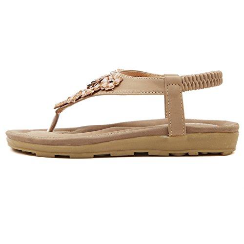 dqq femmes de fleurs de perles T Sangle String Sandal abricot