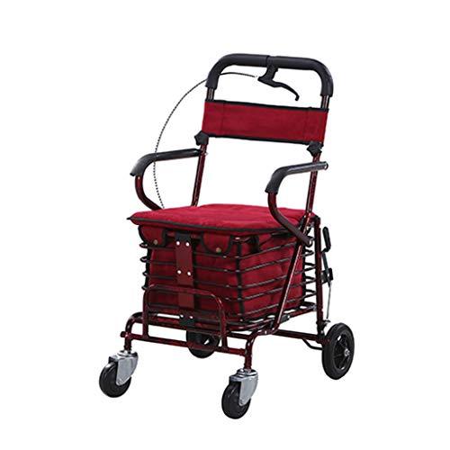 Bai Su Old Man Einkaufswagen Trolley Scooter Helper kann sitzen kann Falten Einkaufswagen Vier Rollstühle (Einzelrad + Pedal) Leben einkaufen (Color : B) - Bäckerei Schrank