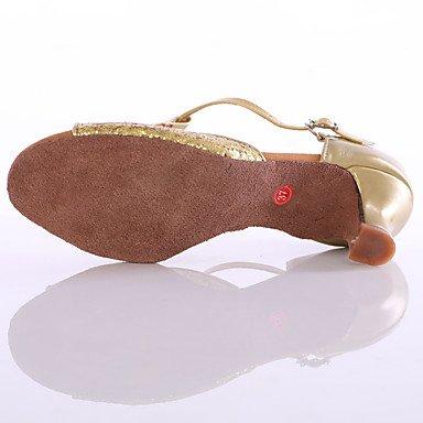 Scarpe da ballo-Personalizzabile-Da donna-Balli latino-americani / Sneakers da danza moderna-Tacco su misura-Paillette-Argento / Dorato golden