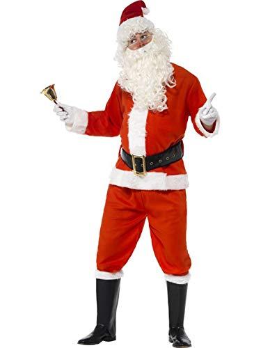 (costumebakery - Herren Kinder Kostüm Nikolaus Weihnachtsmann Deluxe, Jacke Hose Gürtel Mütze Handschuhe und Stiefelüberzieher, Santa Claus, perfekt für Weihnachten Karneval und Fasching, L, Rot)
