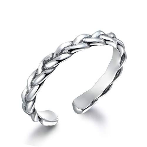 snorso verstellbar Midi Ring Sterling Silber Stapelbar Twist Geflecht Knuckle Ringe für Frauen (Chevron Silber Midi-ring)