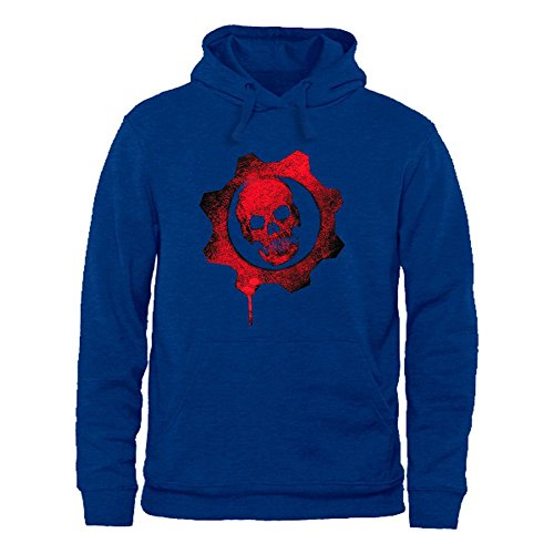 WEIYI BO Women Casual Creative Cool Red Skull Graphic Long Sleeve Hooded Pullover Sweatshirt Tops C
