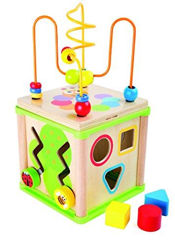 Small Foot 10074 Cube d'activités 'Insectes', y compris jeux de formes, horloge d'apprentissage, roues dentées et circuit de motricité, à partir de 2 ans