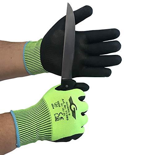 Schnittschutzhandschuh Level 5 Handinnenfläche und Fingerkuppen mit geschäumter Nitril Beschichtung - nahtlos, Strickbund (5, Gr.9)