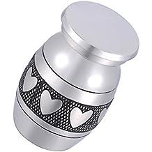 Árbol de la vida pequeña urna para cenizas crematorias 316Acero inoxidable impermeable Mini Funeral urna de recuerdos, acero inoxidable, Peach Heart, 25mmx16mm