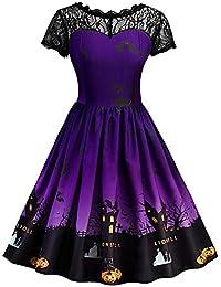 BaZhaHei de Halloween, Vestido Las Mujeres de Manga Corta de Halloween Retro Lace Vintage Dress