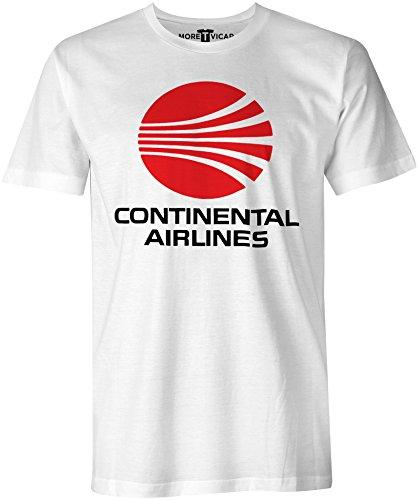 Continental Airlines - Herren Retro Verkehrsflugzeug Logo T Shirt (T-shirt Weißes Fluggesellschaften,)