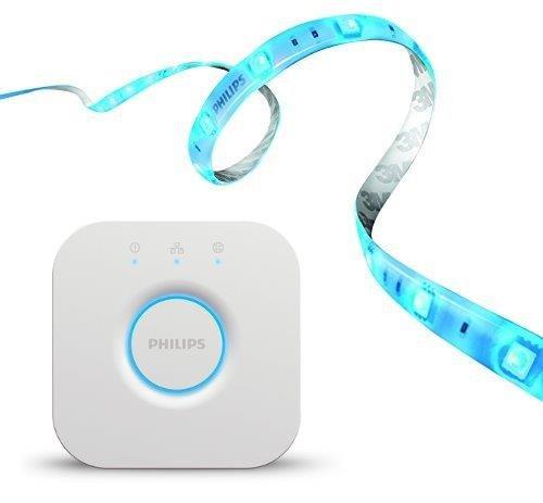 Philips Hue Bridge 2.0 Controllo del Sistema e Hue Lightstrip Plus Striscia LED da 200 cm, Estendibile Fino a 10 m, Compatibile con Google Assistant