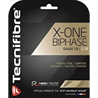 TECNIFIBRE X-One Biphase Set di corde, unisex, X-One Biphase, Off-White/Off-White, 1.18 mm/12.2 m - 16 Tennis String Set