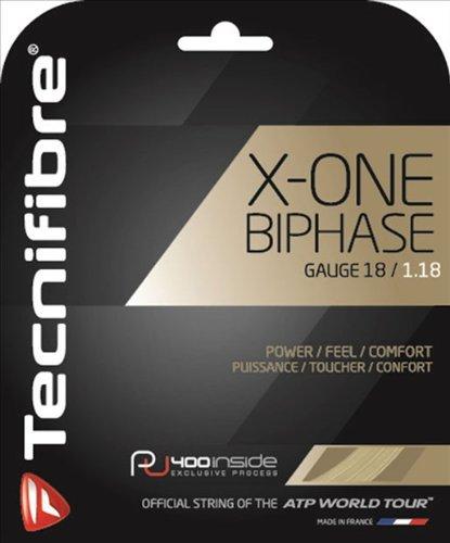 TECNIFIBRE X-One Biphase Set di corde, unisex, X-One Biphase, Off-White/Off-White, 1.18 mm/12.2 m