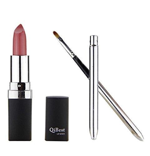 Lippenstift Damen Kolylong 1 Satz Wasserdicht Lippenstift Lip Gloss und Mini Lippenpinsel RD/02