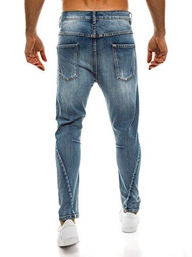 OZONEE Herren Hose Jeanshose Straight-Cut Freizeithose Clubwear Slim Fit BRUNO LEONI 167 Blau