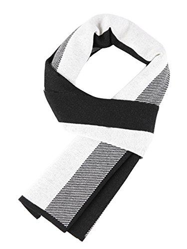 WANYING Winter Herbst Herren Strickschal 6% Wolle Gestrickter Schal Casual Business Gentleman - 180 * 30 cm Gestreift Schwarz Weiß