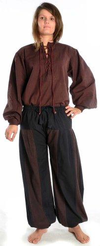 HEMAD - Damen Pluderhose zweifarbig schwarz-braun S/M Piraten-Hose (Damen Piraten Hose)