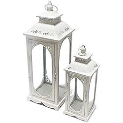 Juego de 2 faroles altos de metal y cristal, color crema con patrones, perfectos para bodas