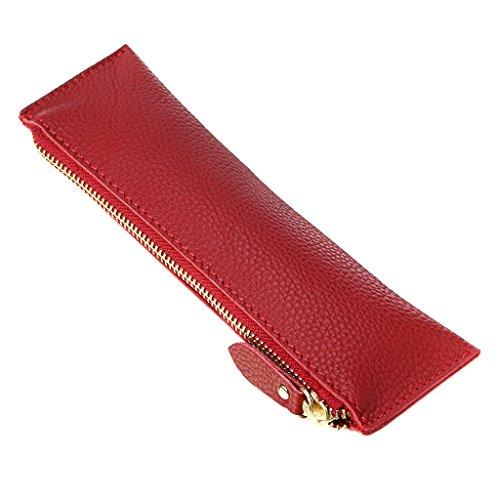 Btsky, astuccio portapenne in vera pelle, vintage, morbido, per oggetti di cancelleria, per studenti, uomini d'affari e artisti red