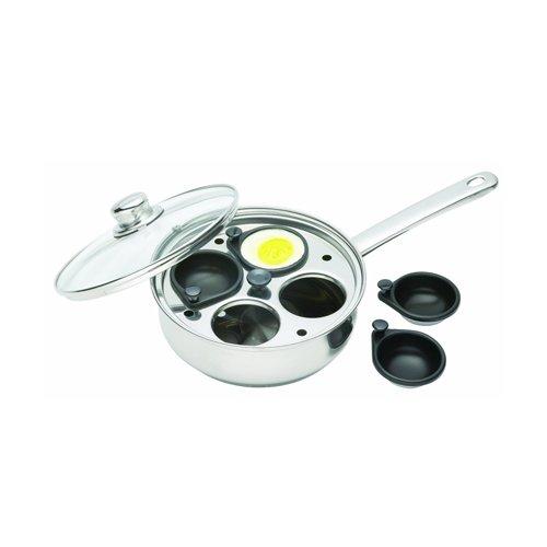 Kitchen Craft Clearview - Cazo de acero inoxidable para escalfar huevos (4 huecos)