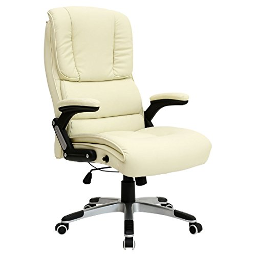 More4Homes Cream Santiago Faux Leather Office Swivel Chair