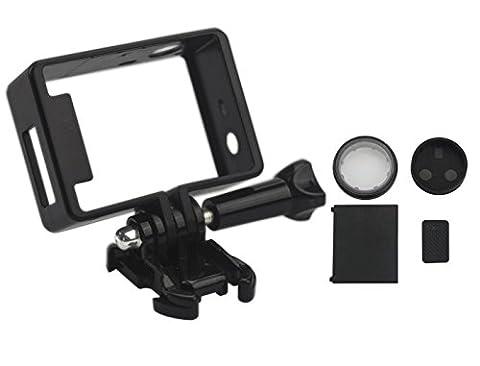 MIDWEC Kit de 5 Pièces Support de Fixation Socle et Accessoires pour GoPro Hero 4, 3+, avec ports USB, HDMI et SD, Protection de l'objectif, Protection de Batterie et cache Côté Batterie