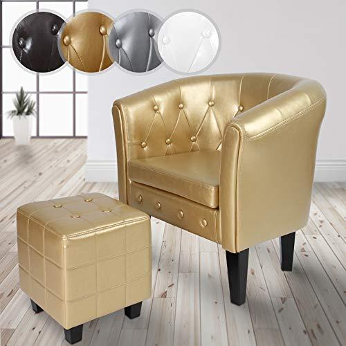 MIADOMODO Chesterfield Sessel und Hocker - aus Kunstleder und Holz, mit Rautenmuster, Farbwahl verfügbar - Lounge Sessel und Sitzhocker Set, Clubsessel, Armsessel, Wohnzimmer Möbel (Gold)