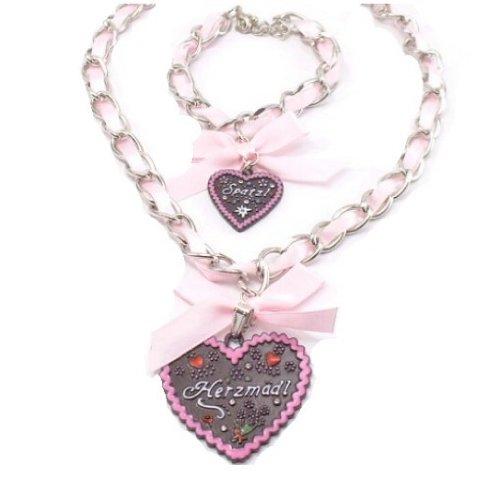 Time4-Charms Trachtenschmuck Set.3 Herz Trachtenkette mit Armband zum Dirndl Oktoberfest Wiesn