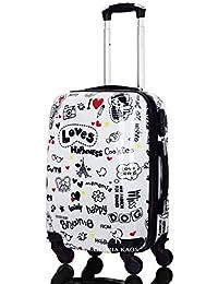 Trolley da cabina 50 cm valigia rigida 4 ruote in abs policarbonato stampato a fantasia impermeabile compatibile voli lowcost come Easyjet Rayanair art Loves Happiness (Bianco)