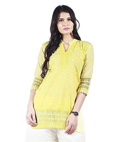 Haniya Chikan Embroidery Women's Short Cotton Kurti (Yellow, X-Large)