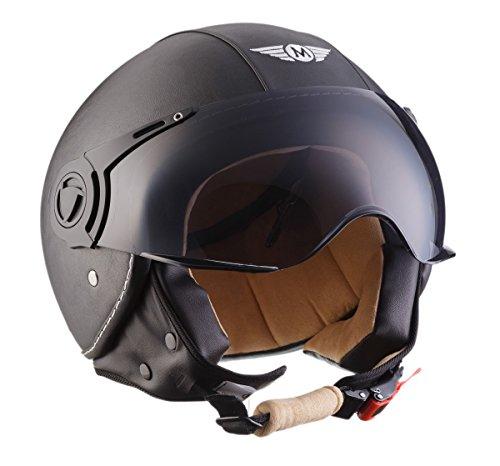 Moto Helmets H44 Leather Black · Cruiser Bobber Vintage Vespa-Helm Biker Chopper Retro Mofa Moto Helmetsrrad-Helm Jet-Helm Helmet Pilot Scooter-Helm Roller-Helm · ECE zertifiziert · inkl. Sonnenvisier · inkl. Stofftragetasche · Grau · XL (61-62cm) - 2
