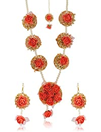 MS Creations Red And Golden Floret Jewelry Set For Women (MS_12)
