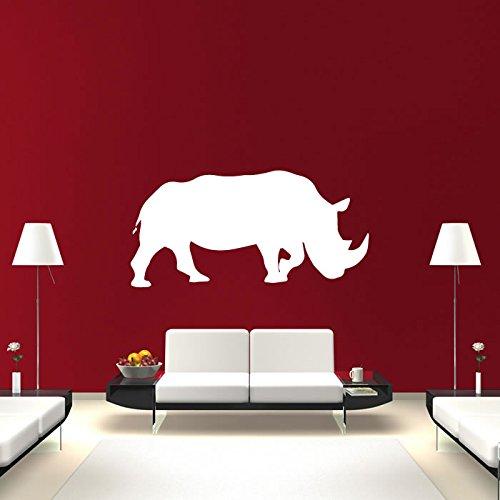 Nashorn Silhouette Nashorn Wilde Tiere Wandsticker Heim Dekor Art Decals verfügbar in 5 Größen und 25 Farben X-Groß Weiß (Wild-tier-silhouette)