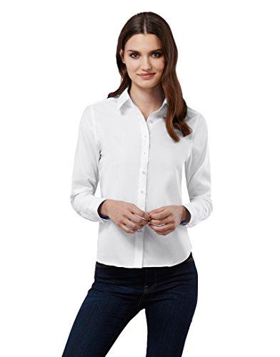 EMBRÆR Damen Bluse 100% Baumwolle mit Kontrasteinlage Casual-Fit - Normale Passform Langarm Hemdbluse Elegant Festlich Kent-Kragen Auch für Business und Unter Pullover Weiß 36 (Langarm-bluse Klassische)