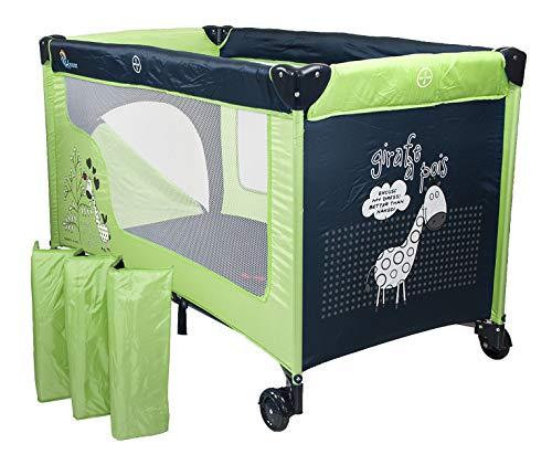 Chiccot - Una Cuna De Viaje Para Niños Con Colchón Para Dormir. Portátil y Plegable. 124 x 68 x 74 cm (Verde)