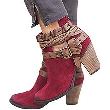 Botas, JiaMeng Mujer Nieve Plana del Tobillo Botas de Moto Cuero de Gamuza Femenino Zapatos