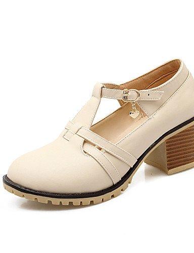 WSS 2016 Chaussures Femme-Habillé / Décontracté-Noir / Bleu / Rose / Blanc / Beige-Gros Talon-Talons / Bout Arrondi-Talons-Similicuir beige-us6 / eu36 / uk4 / cn36