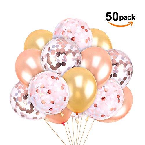 """iZoeL Partydeko Luftballons 50Stck 12"""" Latex Ballons für Hochzeit Geburtstag Zeremonie Kinder Party Deko ( inkl. 15 Rosa Gold Ballons 15 Champagne Ballons 10 Rosa Gold Konfetti Ballons 10 Rosa Gold Pink Weiß Konfetti Balloon)"""