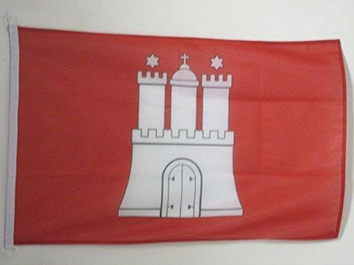 AZ FLAG Flagge Hamburg 90x60cm - Hamburg Fahne 60 x 90 cm Aussenverwendung - flaggen Top Qualität