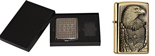 Zippo Eagle Grand Canyon Brass-im Zigaretten Etui Geschenk Cigarette Case Gift Set Sturmfeuerzeug, Chrom, Silber 15 x 10 x 5 cm