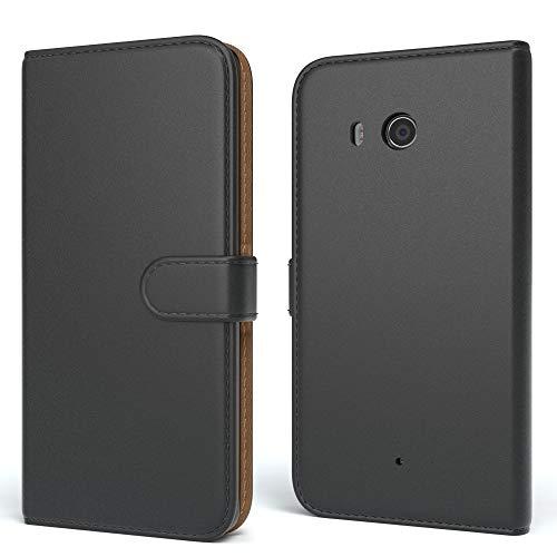 EAZY CASE Tasche für Sony Xperia M2 Aqua (Dual) Schutzhülle mit Standfunktion Klapphülle im Bookstyle, Handytasche Handyhülle Flip Cover mit Magnetverschluss und Kartenfach, Kunstleder, Schwarz